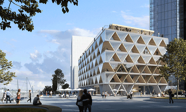 hpp architekten proposes d sseldorf s first hybrid timber office building contract design