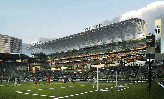 A steel truss canopy will cover seating along the existing eastern wing of the stadium. All images courtesy Brooklyn Digital Foundry. & Designs Unveiled for Allied Worksu0027 Providence Park Expansion ...