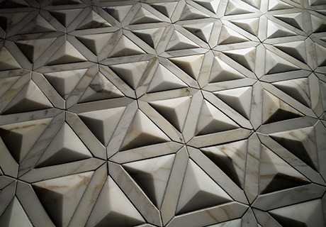 Inspired by Italy's cathedrals, Duomo Dimensional from Artistic Tile is a  3-D mosaic that can be carved out of various stones for custom orders.