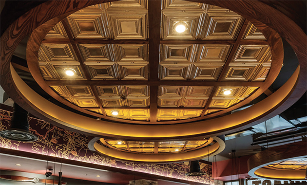 Blending The Noise Diffusing Properties Of Acoustic Panels With Aesthetic Tin Ceiling Designs American Ceilings Has Released Their