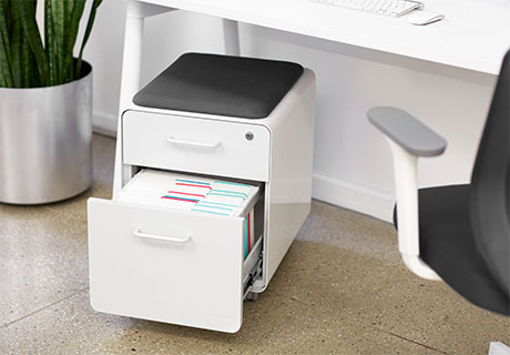 The Mini Stow Two Drawer File Cabinet From Poppin Is Ideal For Both Storage  And Seating. Featuring A Soft Seating Pad, The Powdercoated Steel  Construction ...